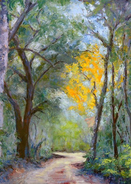 Plein Air Greeting Card featuring the painting The Road to Shell Redemption by Cecelia Campbell