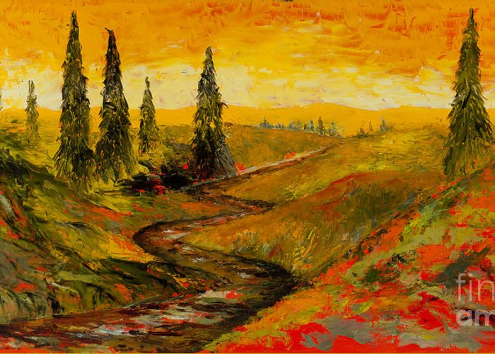 Tuscan Greeting Card featuring the painting The Road To Tuscany by Larry Martin