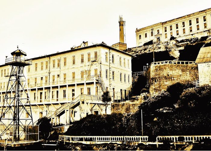 Alcatraz Greeting Card featuring the photograph The Rock by Benjamin Yeager