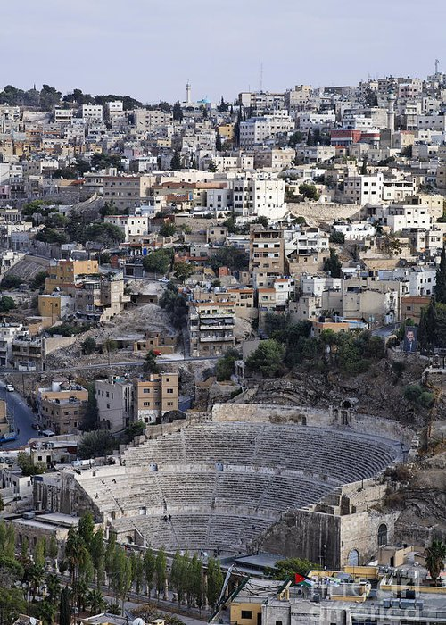 Amman Greeting Card featuring the photograph The Roman Theatre In The Middle Of The City Of Amman Jordan by Robert Preston