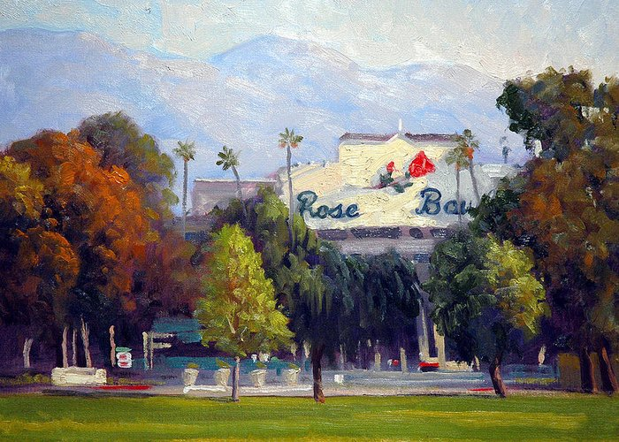Landscape Greeting Card featuring the painting The Rose Bowl by Armand Cabrera