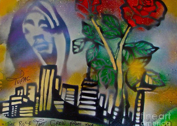 Hip Hop Greeting Card featuring the painting The Rose From The Concrete Gold by Tony B Conscious