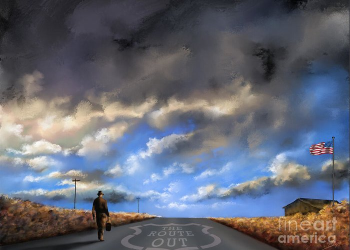 66 Greeting Card featuring the painting The Route Out by - Artificium -