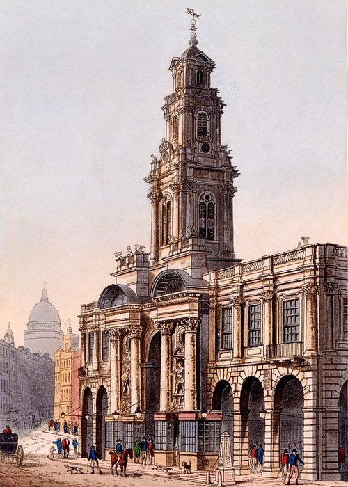 Royal Exchange Greeting Card featuring the drawing The Royal Exchange, 1816 by Rudolph Ackerman
