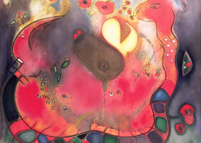 Serpent; Red; Abstract Greeting Card featuring the painting The Sacred Snake by Jane Deakin
