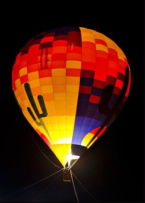 Hot Air Balloon Greeting Card featuring the photograph The Saguaro Balloon by Saija Lehtonen