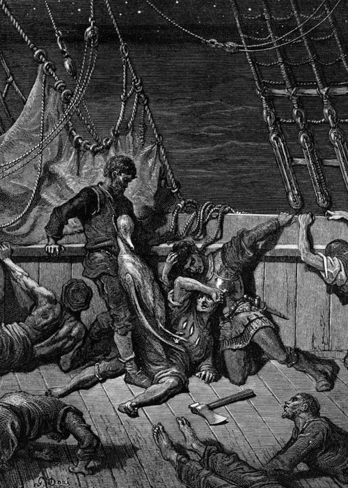 Crew; Curse; Axe; Ship; Bird; Dore Greeting Card featuring the drawing The Sailors Curse The Mariner Forced To Wear The Dead Albatross Around His Neck by Gustave Dore