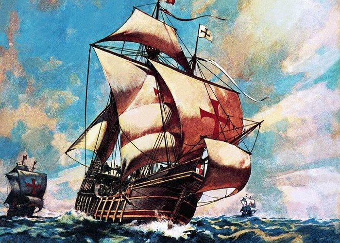 Ships; Boats; Ocean; Sailing Ship; Santa Maria; Christopher Columbus; Nao; Atlantic; Watling Island; Exploration; Discovery; Waves; Sea; Sails; Spanish Greeting Card featuring the painting The Santa Maria by James Edwin McConnell