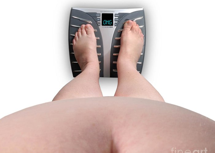 Abdomen Greeting Card featuring the photograph The Scale Says Series Omg by Amy Cicconi