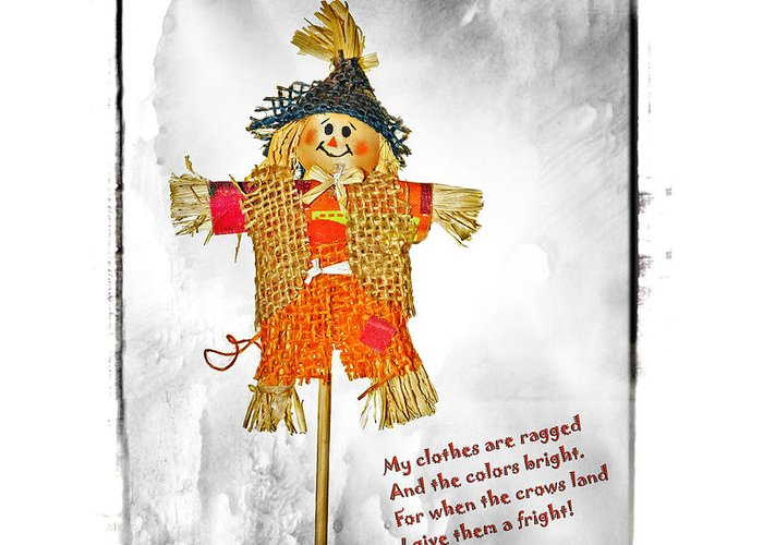 Cute Greeting Card featuring the photograph The Scarecrow by Susan Leggett