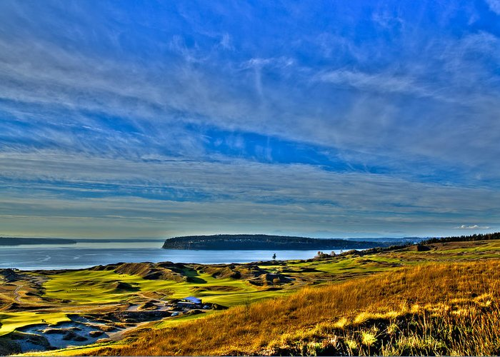 Chambers Bay Golf Course Greeting Card featuring the photograph The Scenic Chambers Bay Golf Course II - Location Of The 2015 U.s. Open Tournament by David Patterson