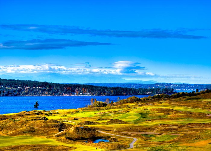 Chambers Bay Golf Course Greeting Card featuring the photograph The Scenic Chambers Bay Golf Course Iv - Location Of The 2015 U.s. Open Tournament by David Patterson
