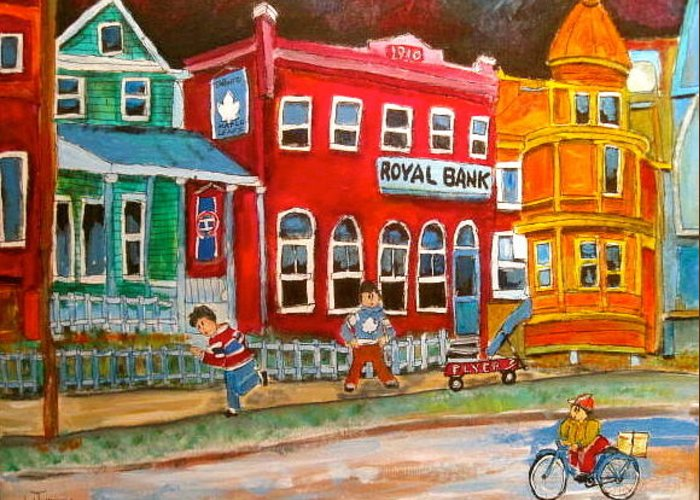 Victorian Town Greeting Card featuring the painting The School Bell by Michael Litvack