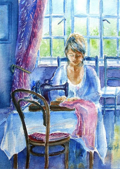 Seamstress Greeting Card featuring the painting The Seamstress by Trudi Doyle