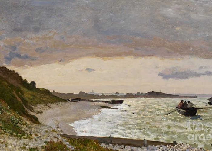 Boat Greeting Card featuring the painting The Seashore At Sainte Adresse by Claude Monet