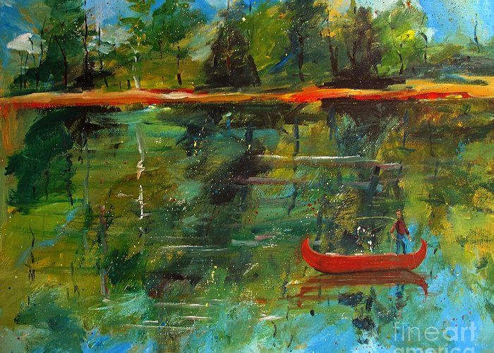 Canoe Greeting Card featuring the painting The Secret by Charlie Spear