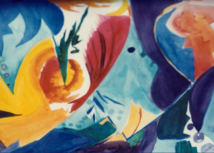 Abstract Greeting Card featuring the painting The Seed by Phoenix Simpson