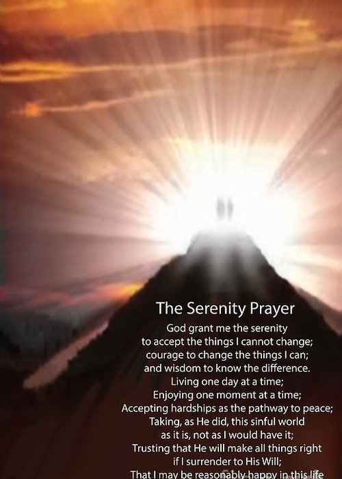 The Serenity Prayer Digital Painting Greeting Card featuring the painting The Serenity Prayer Digital Painting by Heinz G Mielke