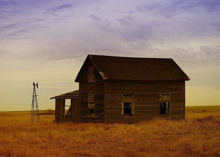 Farm Houses Greeting Card featuring the photograph The Shambles Of Dreams Gone By by Jeff Swan