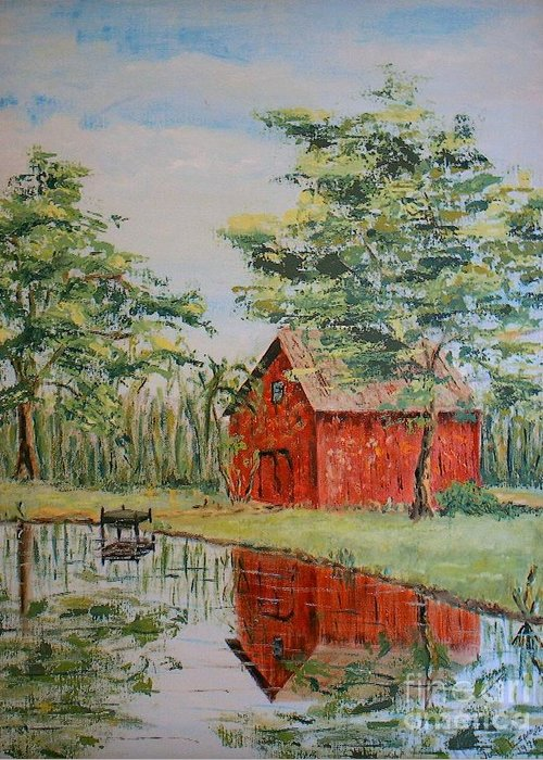 Red Shed Building Greeting Card featuring the painting The Shed - Sold by Judith Espinoza