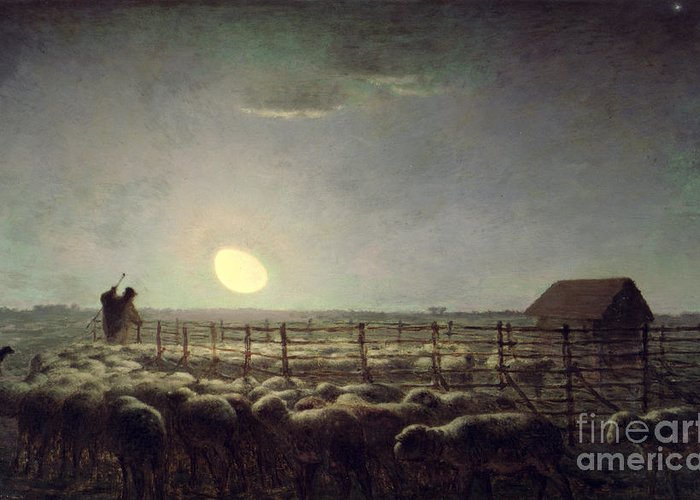 The Sheepfold Greeting Card featuring the painting The Sheepfold  Moonlight by Jean Francois Millet