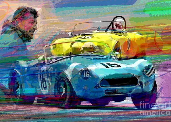 Shelby Cobra Greeting Card featuring the painting The Shelby Legacy by David Lloyd Glover