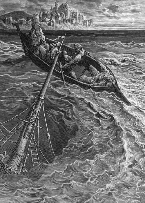 Rescue; Rescuing; Sea; Stormy; Waves; Dore Greeting Card featuring the drawing The Ship Sinks But The Mariner Is Rescued By The Pilot And Hermit by Gustave Dore