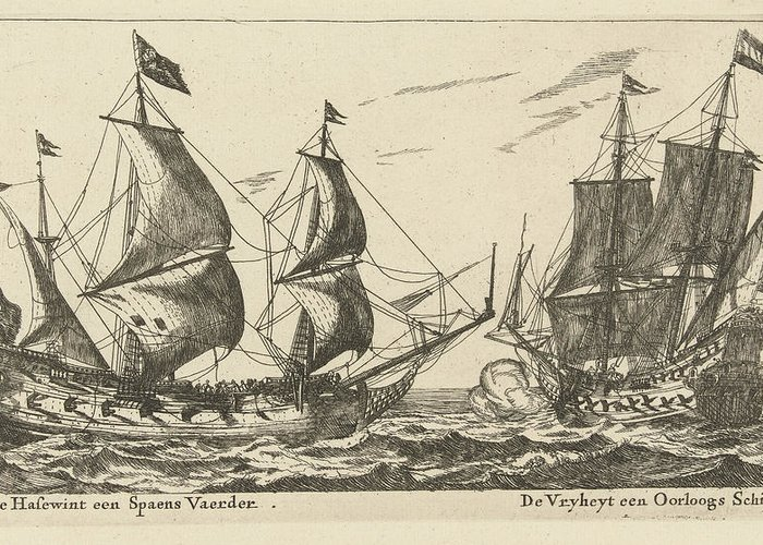 Sailing-ship Greeting Card featuring the drawing The Ships Freedom And The Greyhound, Anonymous by Anonymous And Reinier Nooms