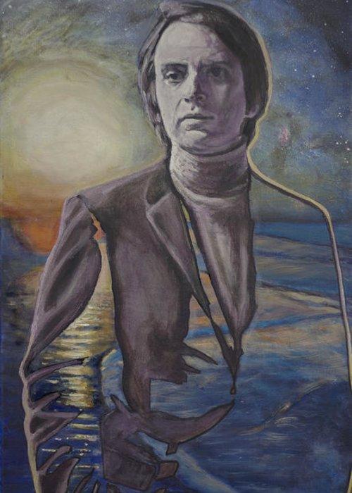 Carl Sagan Greeting Card featuring the painting The Shore Of The Cosmic Ocean by Simon Kregar