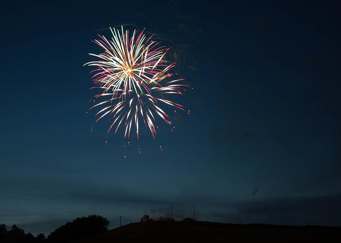 West Virginia Day Greeting Card featuring the photograph West Virginia Day Fireworks Show Begins by Howard Tenke