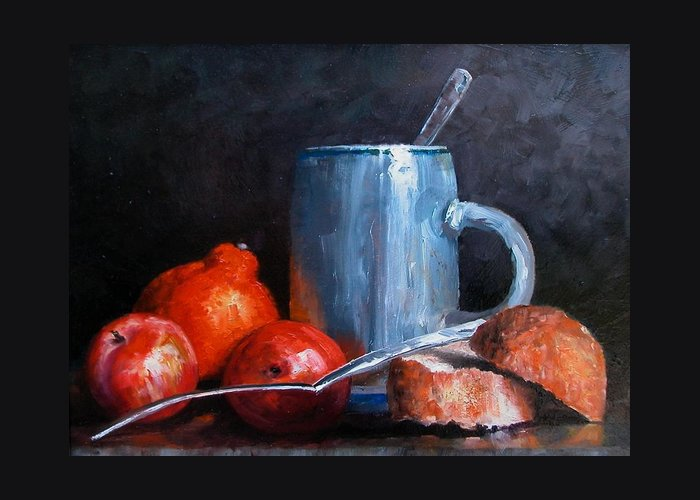 Still Life Greeting Card featuring the painting The Silver Cup by Jim Gola