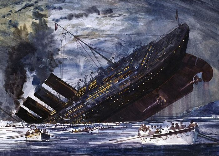 Titanic Greeting Card featuring the painting The Sinking Of The Titanic by Graham Coton
