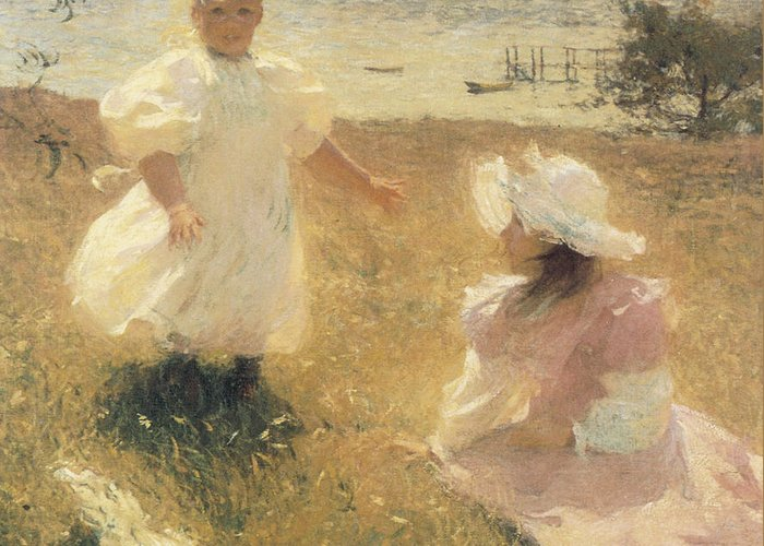 Two Young Girls Greeting Cards