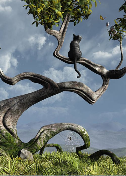 Whimsical Greeting Card featuring the digital art The Sitting Tree by Cynthia Decker