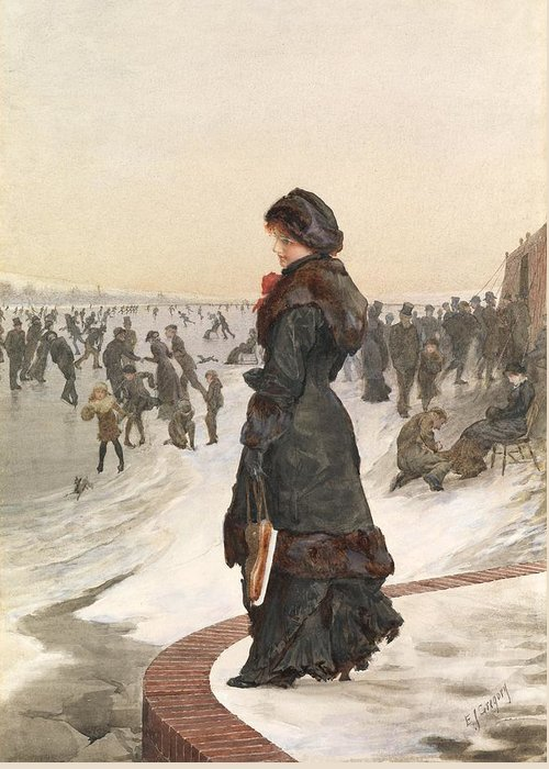 Female Greeting Card featuring the painting The Skater by Edward John Gregory