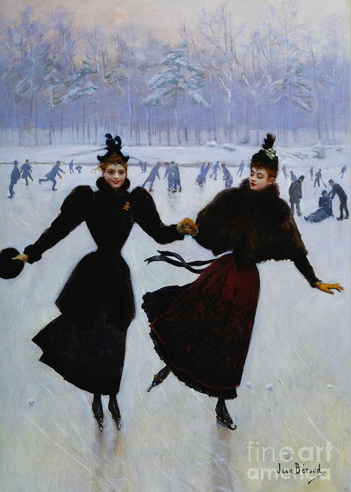 Beraud Greeting Card featuring the painting The Skaters by Jean Beraud
