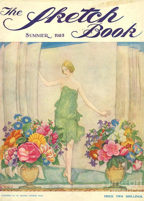 1920�s Greeting Card featuring the drawing The Sketch Book 1925 1920s Uk Womens by The Advertising Archives