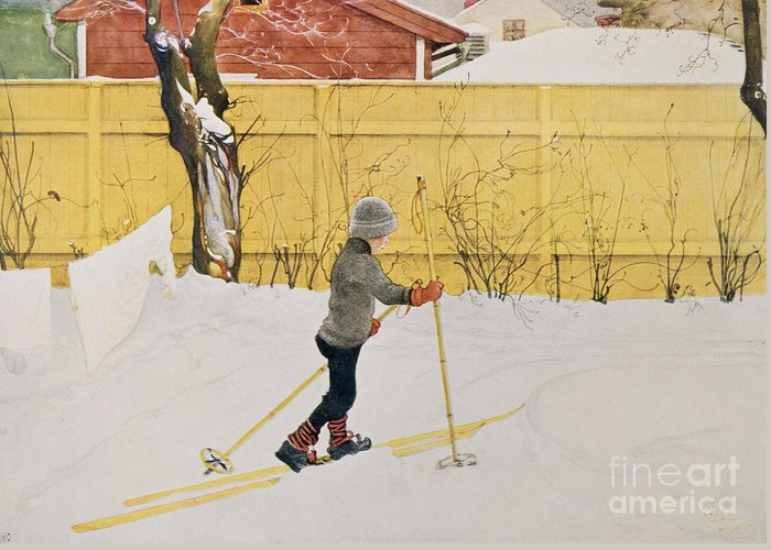 Snow Greeting Card featuring the painting The Skier by Carl Larsson