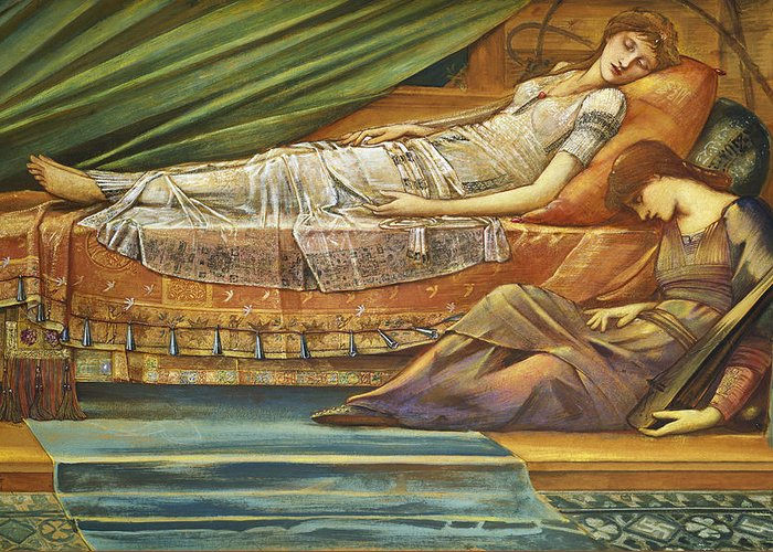 The Greeting Card featuring the painting The Sleeping Princess by Sir Edward Burne-Jones