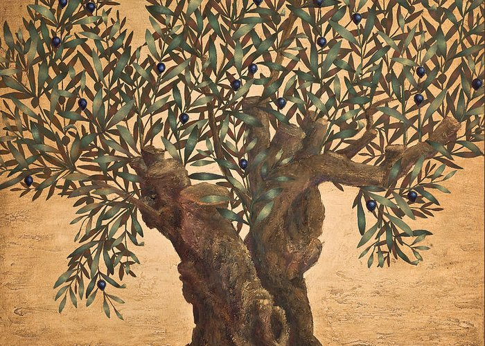 Landscape Greeting Card featuring the painting The small olive tree by Sobobak