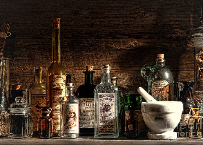 Apothecary Greeting Card featuring the photograph The Snake Oil Shop by Olivier Le Queinec