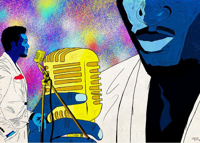 Art Of Soul Music Greeting Card featuring the drawing The Soul Singer by Kenal Louis