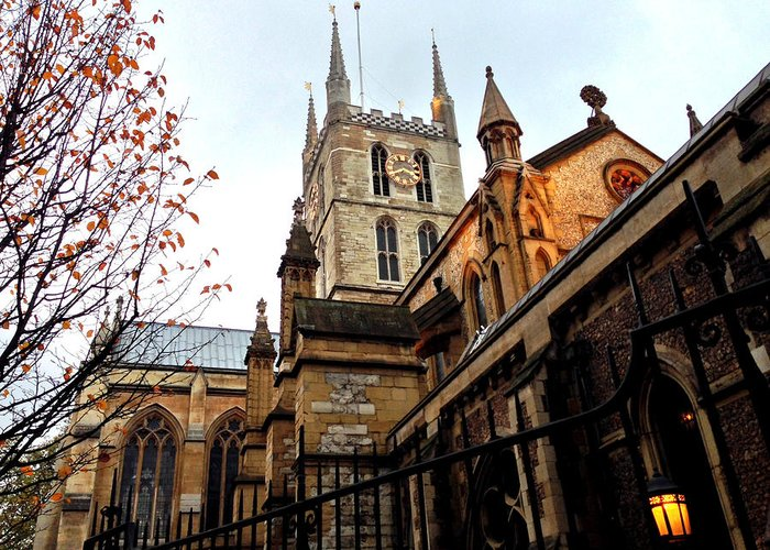 Southwark Greeting Card featuring the photograph The Southwark Cathedral Church London In Winter by Gordon James