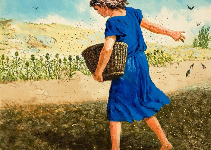 Parable Greeting Card featuring the painting The Sower Of The Seed by Clive Uptton