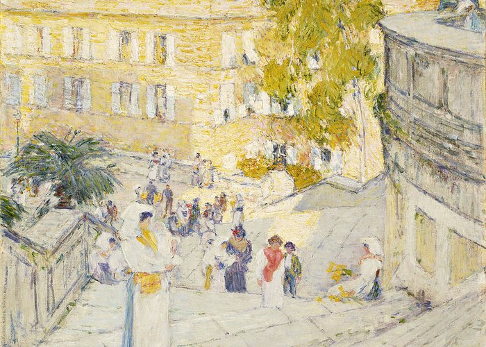 The Spanish Steps Of Rome Greeting Card for Sale by Childe Hassam