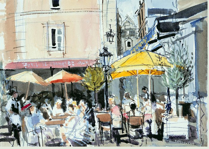Cafe; Restaurant; French; Open Air; Dining; Eating; Al Fresco; Courtyard; Tables; Umbrellas; Brittany; Shade; Parasols; Terrace Greeting Card featuring the painting The Square At St. Malo by Felicity House