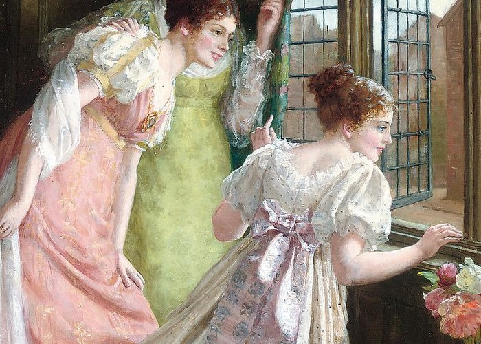 The Squires Arrival; Arrival; Squire; Suitor; Suitors; Courtship; Society Life; Female; Romance; Romantic; Excited; Excitement; Young; Girl; Girls; Regency; Georgian; 18th; Interior; Domestic; Window; Anticipation; The Future; Optimism; Youth; Waiting; Eager; Emotion; Emotions Greeting Card featuring the painting The Squire S Arrival by Mary E Harding
