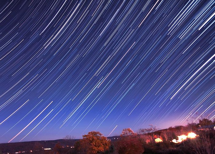 Toy Greeting Card featuring the photograph The Star Trail In Ithaca by Paul Ge