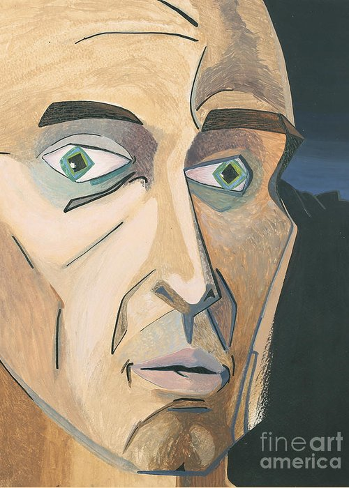 Portrait Greeting Card featuring the painting The Stare by Aaron Joslin