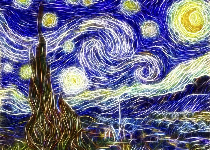 3scape Photos Greeting Card featuring the painting The Starry Night Reimagined by Adam Romanowicz